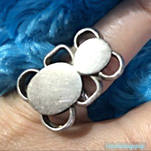 Vntg Art Abstract Teddy Bear Ring c60s-70s